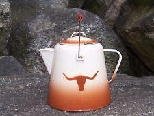 Antique Texas Longhorn Enamelware Graniteware Cowboy Coffee Pot Old Ranch Decor