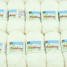 Sale 10x50gr skeins Sweater soft FINGERING bamboo cotton knitting yarn 501 White