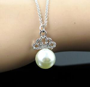 New Pendant Fashion Betsey Johnson Rhinestone Pearl Silver Necklace Women Gift