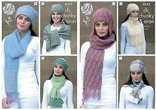 King Cole 4353 Knitting Pattern Hats and Scarves in DK, Chunky and Aran