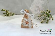 De hesse mini faveur sacs 25 x mariage en bois amour coeur organza nœud ruban dentelle