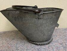 Early Galvanized Coal Scuttle (Bucket)-Great Look!