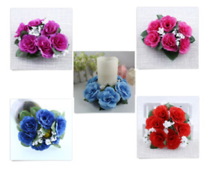 2x Artificial Flower Floral Candle Ring Holder Tabletop Wedding Centerpiece NEW