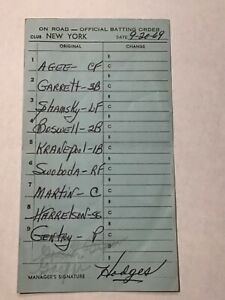 New York Mets 1969 Game Used Lineup Card Gil Hodges Signed Tommie Agee Baseball