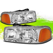 DRIVER+PASSENGER SIDE HEADLIGHT/LAMPS CHROME AMBER FOR 99-07 GMC SIERRA/YUKON