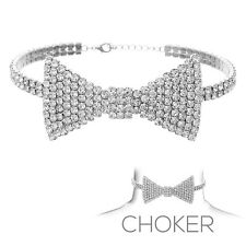 Clear Rhinestone Silver Tone Bow Tie Adjustable Choker Necklace H: 1.5""