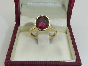 Ring 585 Gold 14K Gelbgold 4,25 g Goldring Rubin Verlobung RG 54 - 17 mm 4447