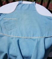 Vintage Apron Farmhouse Country Blue cotton bib single pocket white trim
