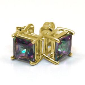 Stud Earrings Mystic Topaz 2.5ct Diamond Unique Princess cut Solitaire 9ct Gold