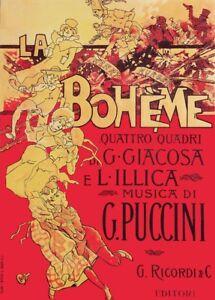 Giacomo Puccini LA BOHEME Adolfo Hohenstein Opera Vintage Classical Music Poster