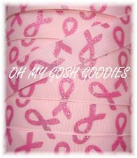 7/8 TWINKLE GLITTER BREAST CANCER AWARENESS GROSGRAIN RIBBON 4 HAIRBOW BOW PINK