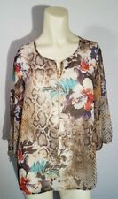 Alfred Dunner womens Top 10p petites Beaded floral animal print Blouse Top