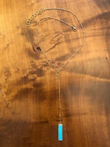 Turquoise Gold Plated Bar Lariat Necklace Boho ~ Gypsy