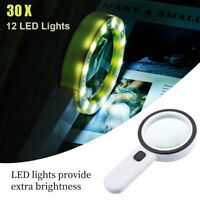 30X 12LED Light High Magnification Double Lens Magnifier Lamp Magnifying Glass