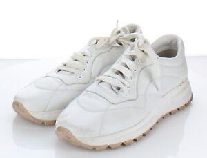 19-25 $690 Women's Sz 40 M Prada Nylon Leather Trainer Sneaker In White