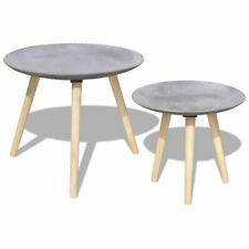 vidaXL 2x Coffee Tables Concrete Grey Home Nightstand Nesting Side Stand Desk