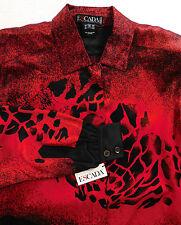 Escada Margaretha Ley silk blouse Red Unused vintage Animal print Giraffe M 38