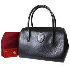 Must de Cartier Logos Hand Bag Boston Black Leather Vintage Authentic #B536 M