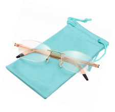 Gold TR90 Arm 10g Only Lightweight Rimless Reading Glasses  Case Included