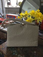 Corbeau Curio ostrich skin Vintage handbag Kelly Bag Metal Frame Vgc