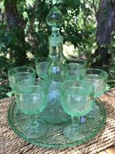 Vintage Green Tiara Chantilly Sandwich Glass 9 Pc Wine Decanter Set Tray  Indiana