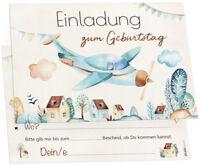 12 Einladungskarten Pilot Flugzeug Kindergeburtstag Geburtstagsparty + Umschläge