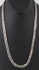 COSTUME SILVERTONE BRAIDED CHAIN NECKLACE FASHION 1009B