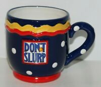 "Vintage Mary Engelbreit Coffee Mug ""Don't Slurp"" 1999 Enesco Polka Dot 3.5"" Tall"