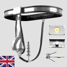 COMPLETO di Sesso Maschile Castità Cintura Dispositivo Acciaio Inossidabile Solido Gabbia/Indietro CATENA 65-100cm