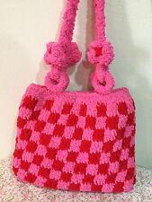 Japan Handmade Women Handbag Shoulder Bags Checked Pattern Bag Pink Red Color