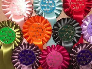 ROSETTES 1 tier CLEAR ROUND x 10, 20, 30,50 or 100 READY TO GO!