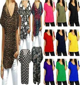 Womens Ladies V Neck Baggy Casual Turn Up Sleeve Top T Shirt Plus Size 8-26