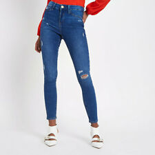 River Island Women's Blue Ripped Knee Molly Jeggings Jeans (EGT)
