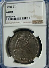 """*VERY STUNNING 1846 SEATED LIBERTY DOLLAR """"SUPER COLOR"""" AU-50 NGC*"""