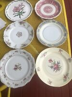 6 Vintage Mismatched China Salad Luncheon Plates Pinks Greens Multi FLORAL #1