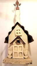 New listing Very Nice Old School House Birdhouse. Wood With Bell Tower And Metal Roof.
