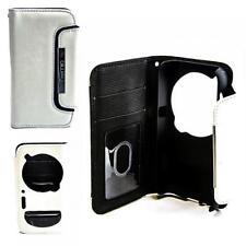 Luxus Book Style Case Handy Tasche Samsung Galaxy S4 ZOOM Weiss-Schwarz Hülle