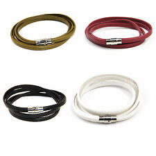 Two Wrap Genuine Leather Bracelet With Secure Magnetic Clasp