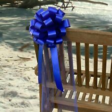 """Royal Blue Wedding Pew Pull Bows Ribbon Tulle Aisle Decorations, 8"""" Set of 6"""