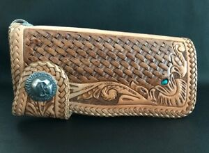 Biker Wallet tan leather in the basket style and a Harley concho