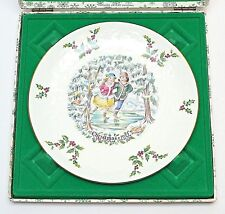 Royal Doulton Gold-Rimmed Bone China Christmas Plate Skaters 1977 Box Usa