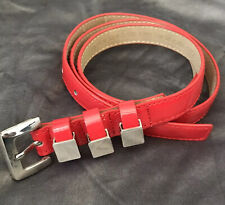 NINE WEST Women's Shiny Red  Synthetic Skinny Belt Silver Tone Accent Large