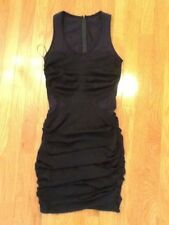 Cuts 25 by Yigal Azrouel black pleated front & side dress with jersey net back &