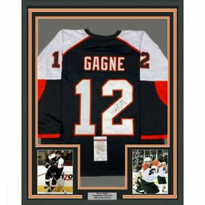 FRAMED Autographed/Signed SIMON GAGNE 33x42 Philly Black Jersey JSA COA Auto