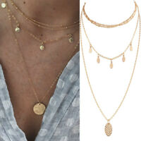 Fashion Women Gold Plated Round Disc Pendant Chain Choker Statement Bib Necklace