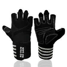 Weight Lifting Gloves Wrist Wrap Training Grip Gym Workout Crossfit Fitness S-XL
