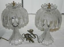 VINTAGE RETRO RARE PAIR OF CRYSTAL BEDSIDE TABLE LAMP LAMPS