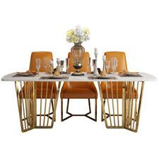 Edler Metall Tisch 6 Stühle Ess Zimmer Gruppe Lehn Stühle Tische Designer Marmor