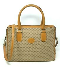 Verified Gucci Micro GG Canvas Brown Leather Medium Book Tote Briefcase Hand Bag