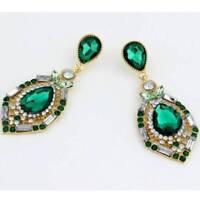Women Luxury Elegant Rhinestone Big Drop Earrings Wedding Party Jewelry